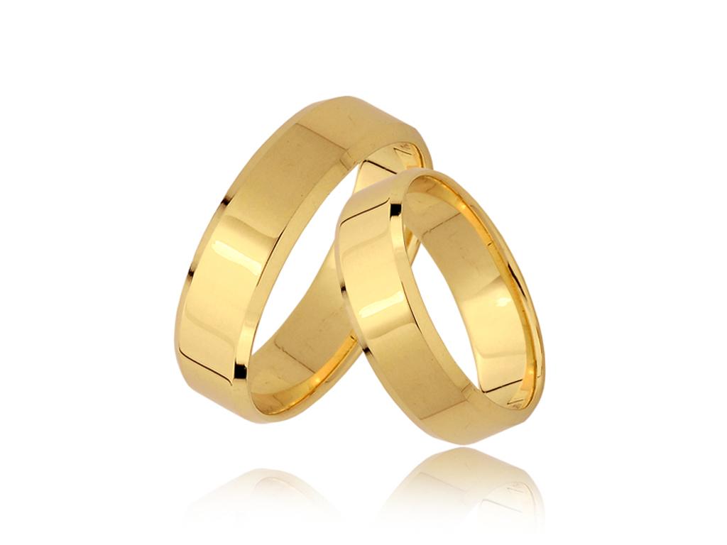 Item GOLD wedding RINGS -PAIR PR 585 5mm BEVELED