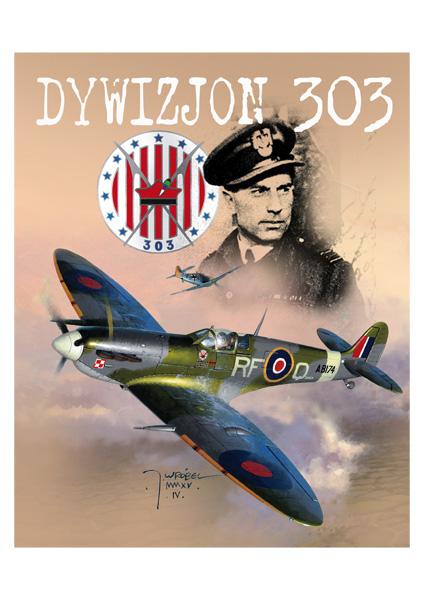 Dywizjon 303 spitfire Jarosław Wróbel - Plakat A3