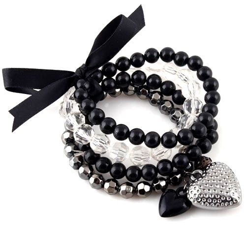 Item Bracelet kit eraser heart black beads
