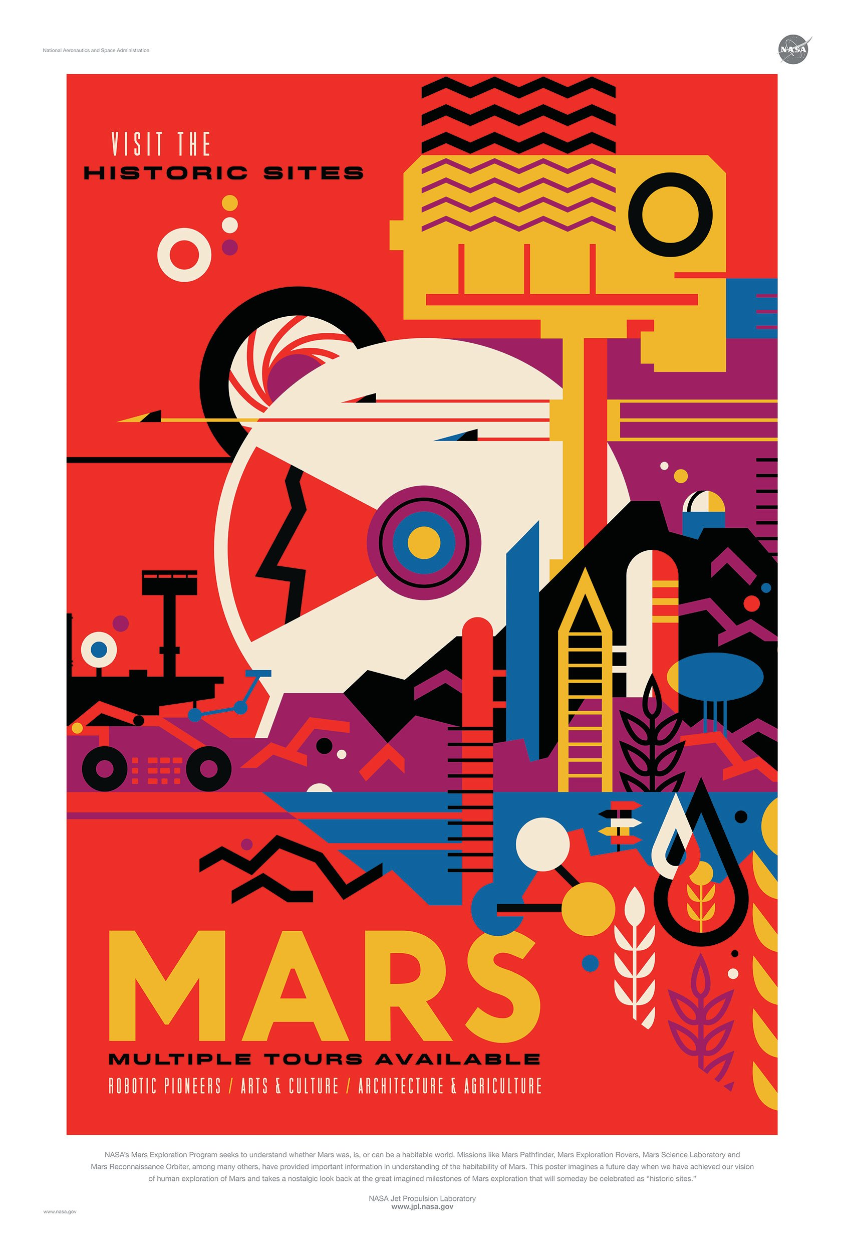 Item MARS poster NASA trips to MARS, 61x42 cm