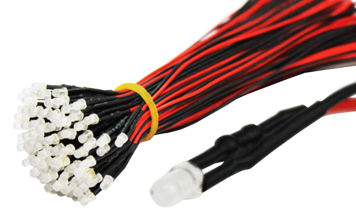 Светодиод 12В 5мм белая clear кабель 20см
