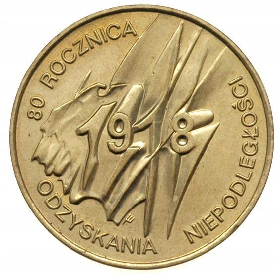 Moneta 2 zł 80. Rocznica Odzyskania Niepodległości