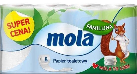 Туалетная бумага - МОЛА (8 роликов) нежный белый