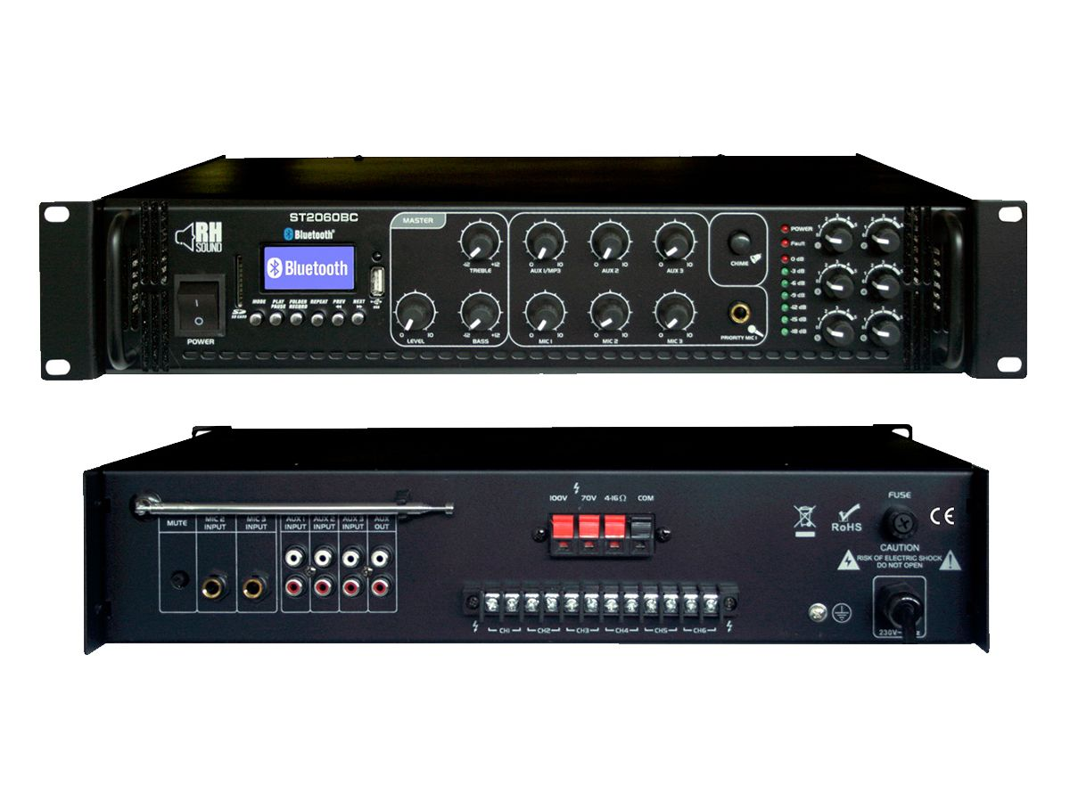 RH SOUND Wzmacniacz 100V ST 2060BC FM BT
