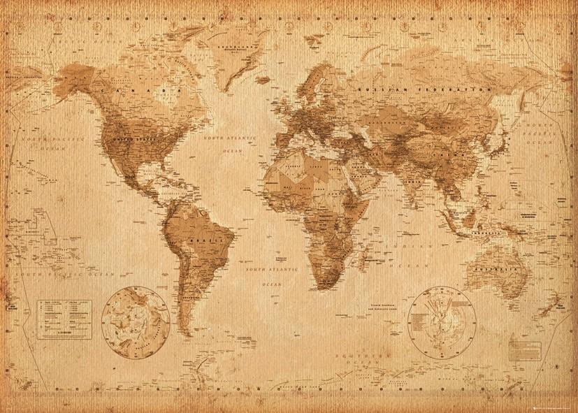 Mapa sveta Svetová mapa Vintage - Plagát 140x100 cm