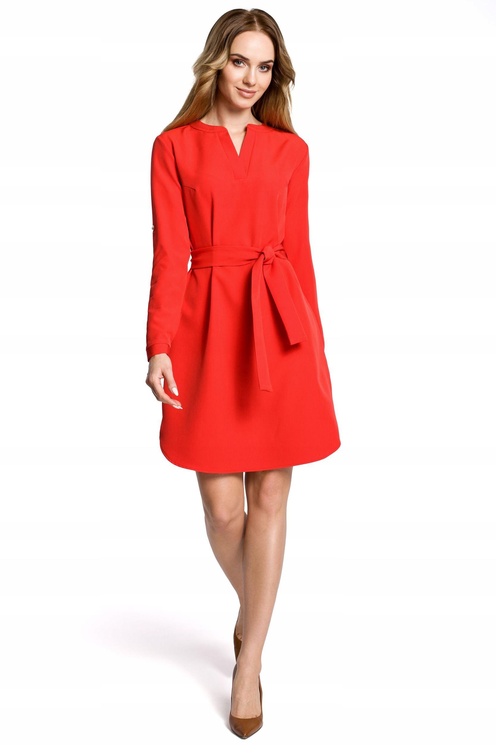 M361 Sukienka koszulowa z paskiem - czerwona 44 |