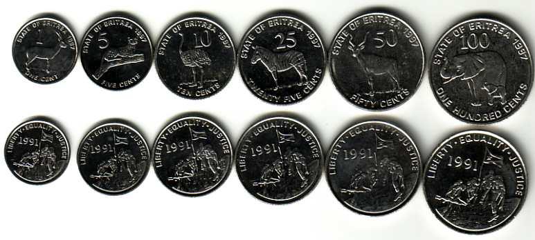 ERYTREA zestaw 6 monet
