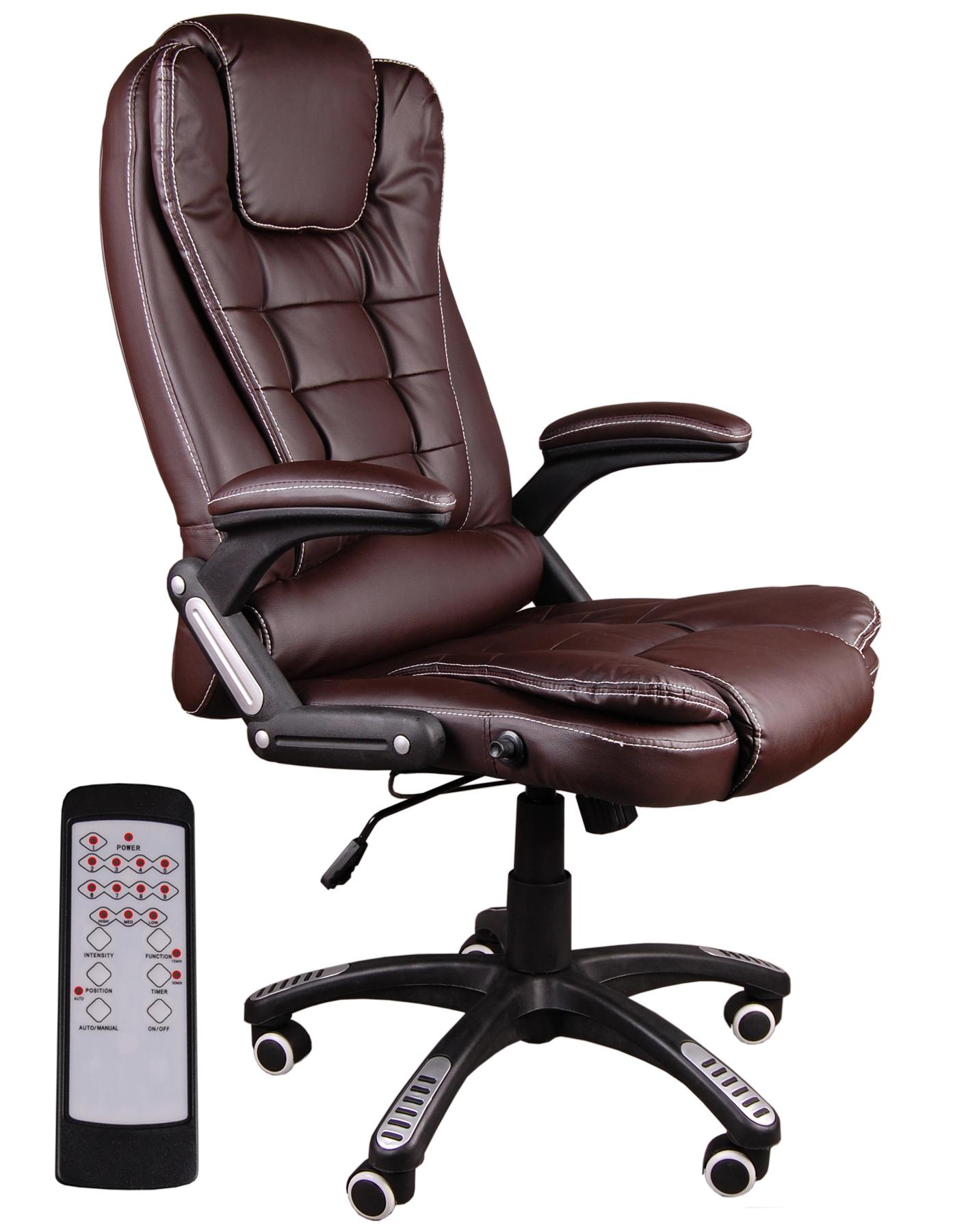Fotel biurowy krzesło obrotowe z funkcją masażu skóra