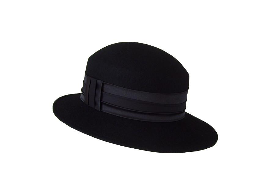 Dámska vlnená plstená čiapka retro čierna 57cm