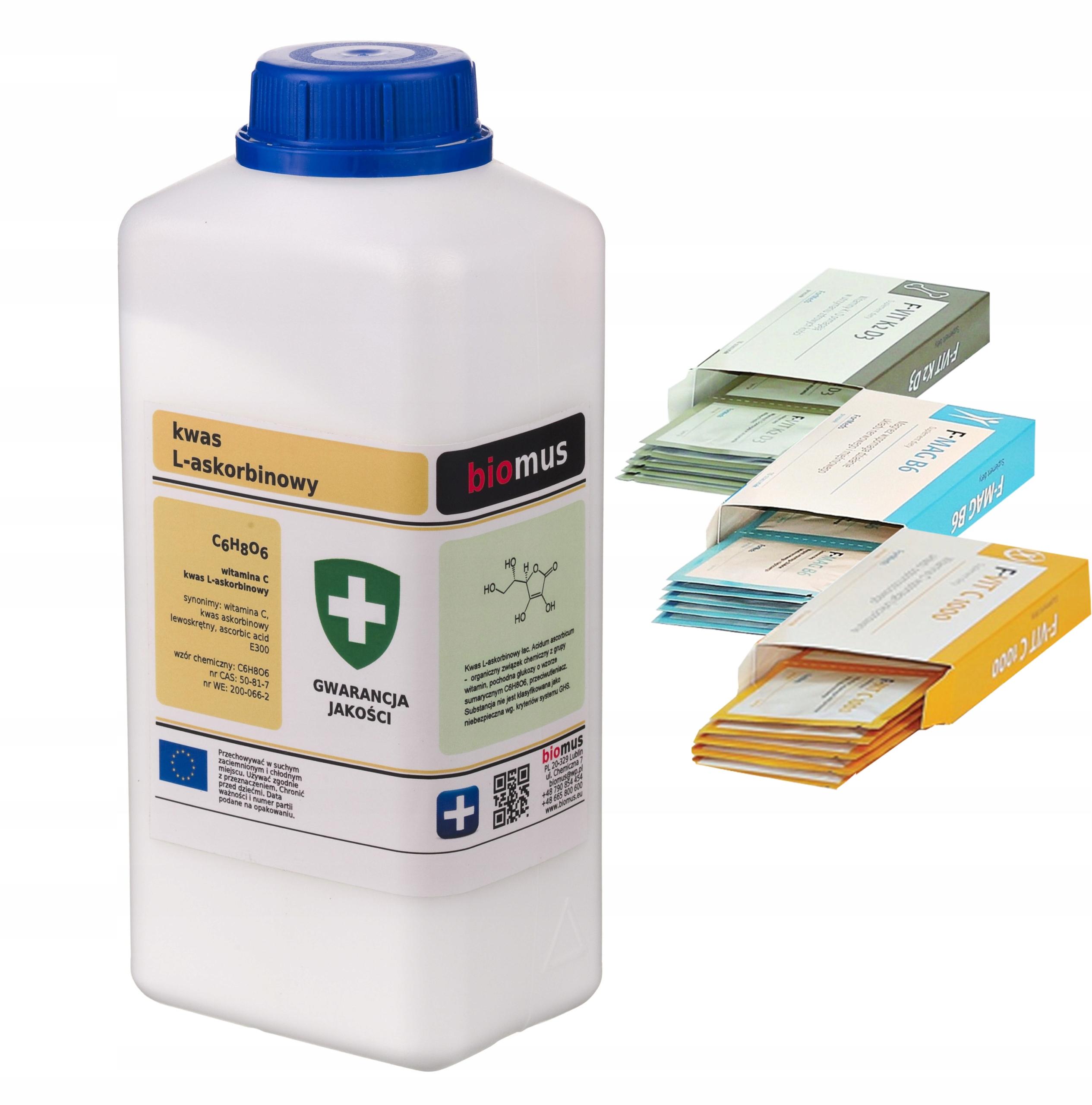 Kwas L askorbinowy Witamina C 1kg 1000 biomus i gif