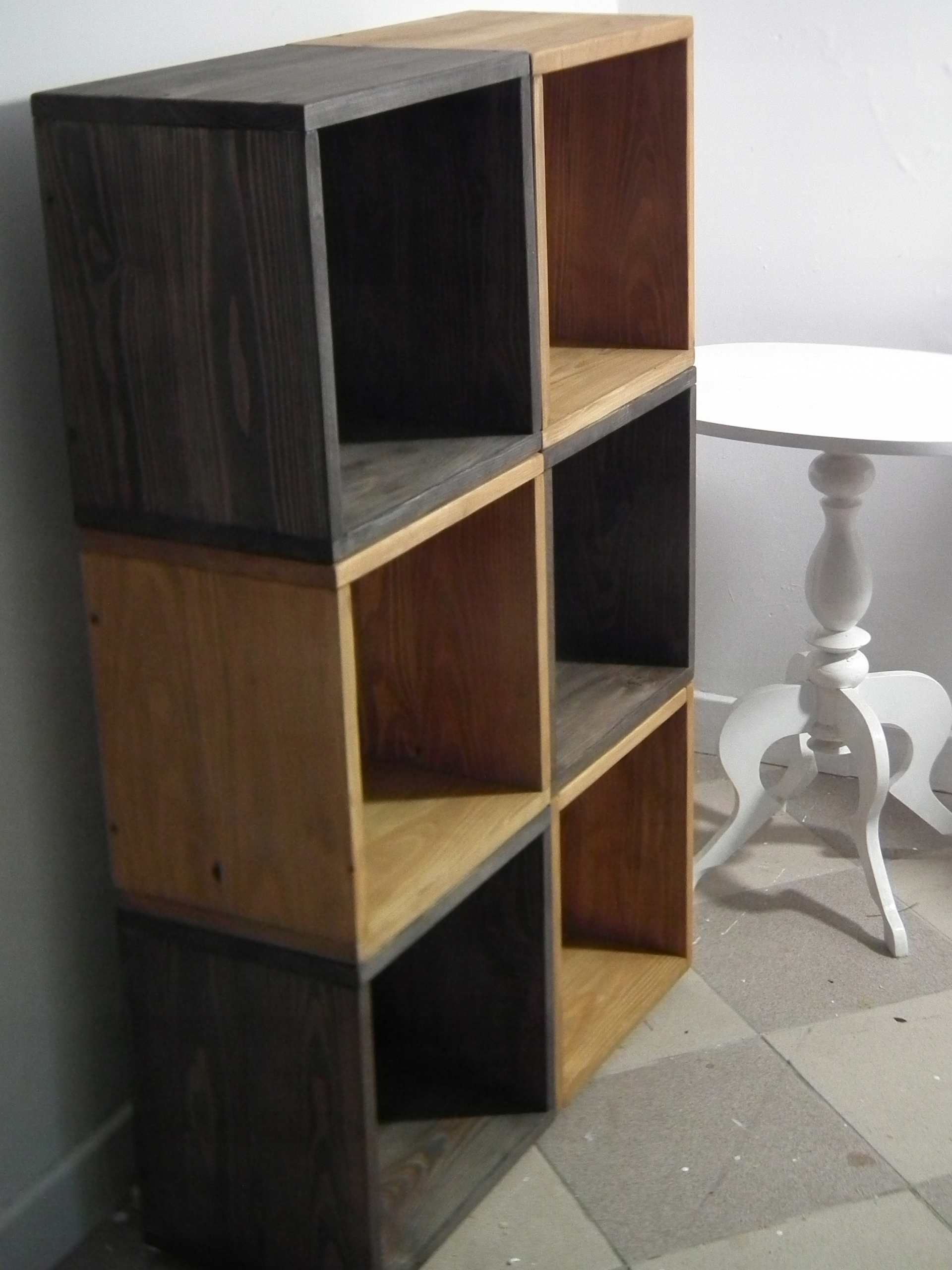 6x Dekoratívne drevené stožiare, kontajner 35x35x25