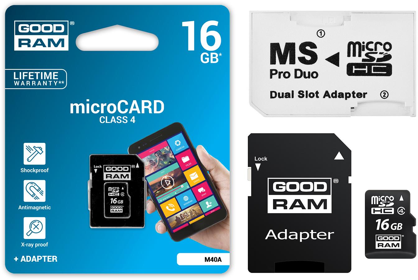 Goodram Micro SDHC 16GB + MS PRO DUO PSP Adaptér!