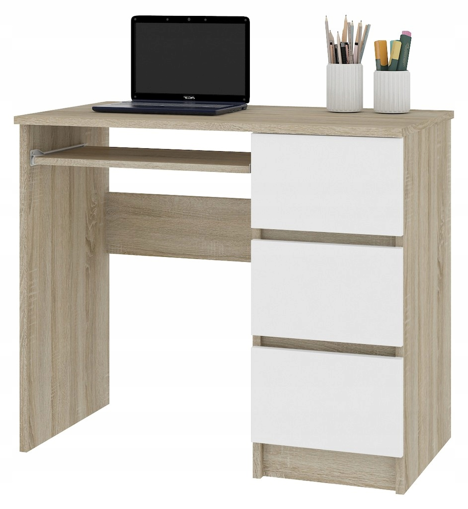 Stôl, AMOR, A6, právo, dub SONOMA/biela Mat
