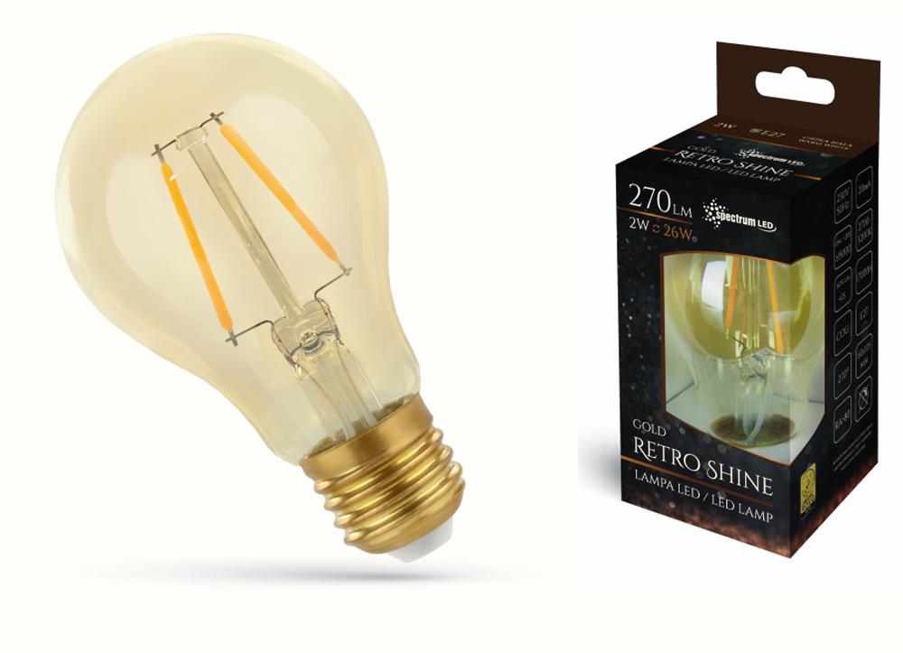LED žiarovka EDISON E27 2W VLÁKNA loft, Vintage
