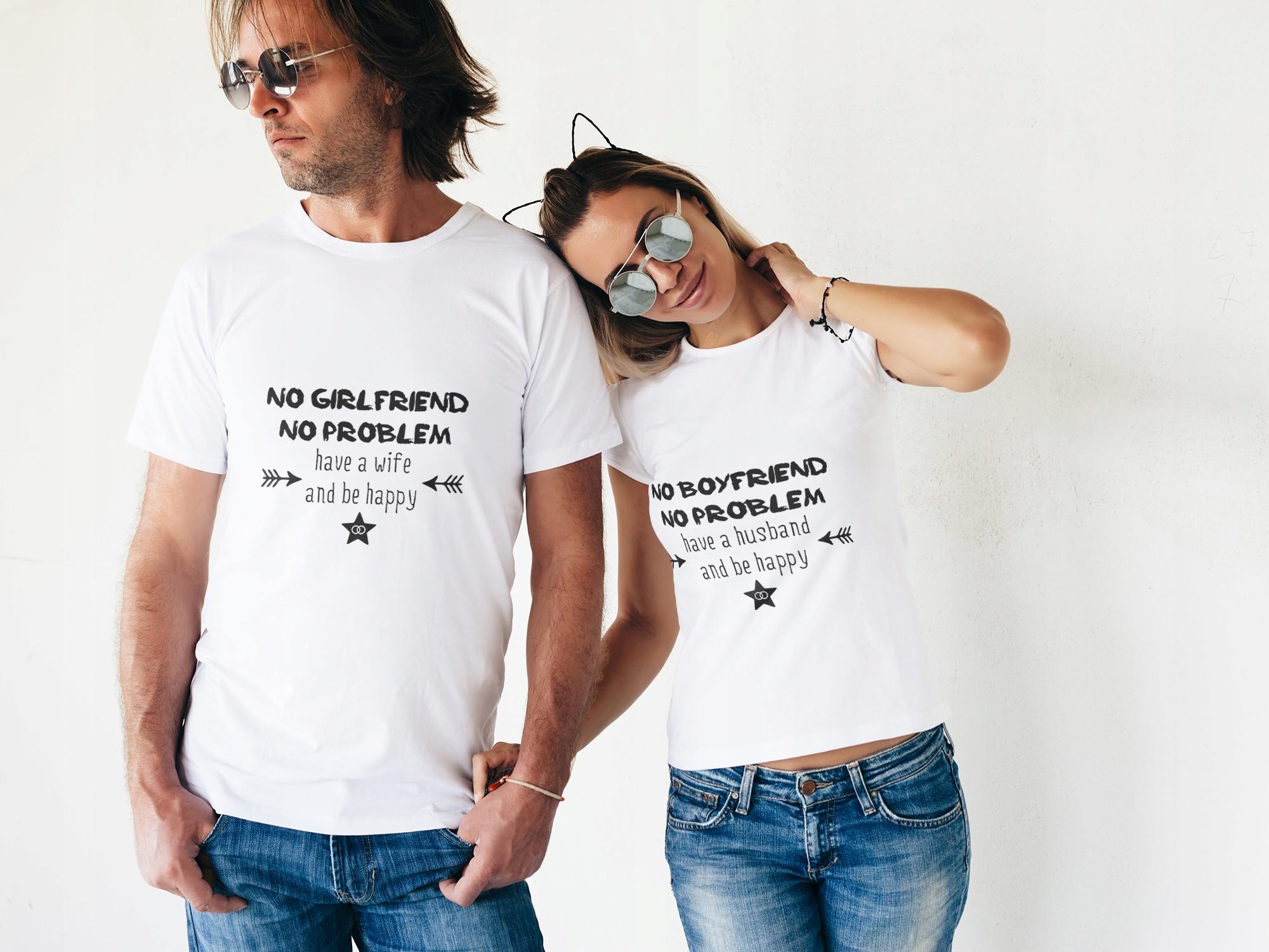 Koszulki Dla Par No Girl Boyfriend No Problem 7571249170 Allegro Pl