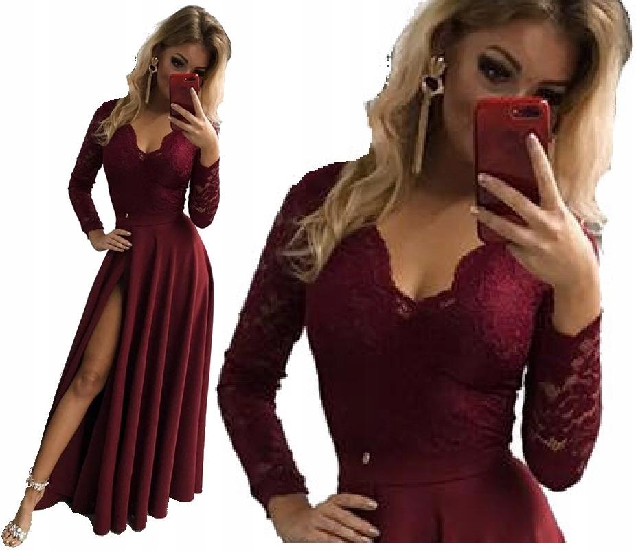 Koronkowa Długa Sukienka Maxi odkryte plecy Wesele