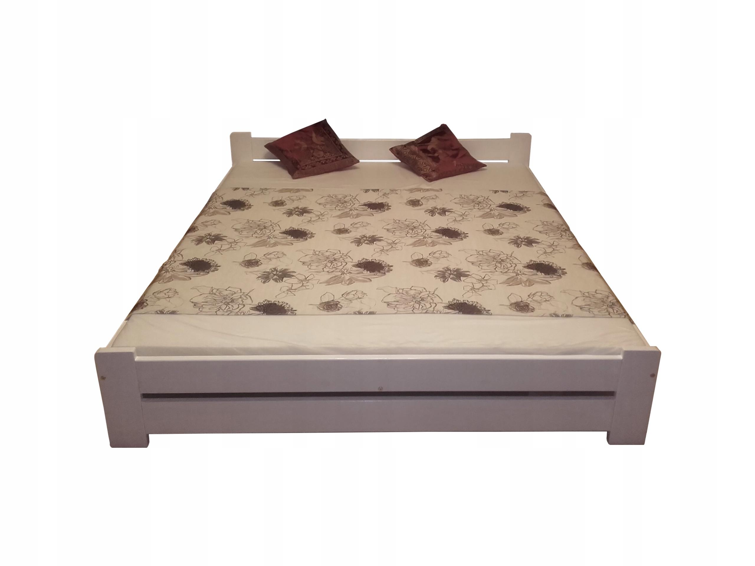 łóżko Drewniane R 140x200 Białe Z Materacem