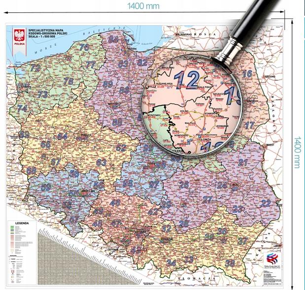 Текущая Карта несмотря на высокий дорожная Польский 1:500, F-Ндс