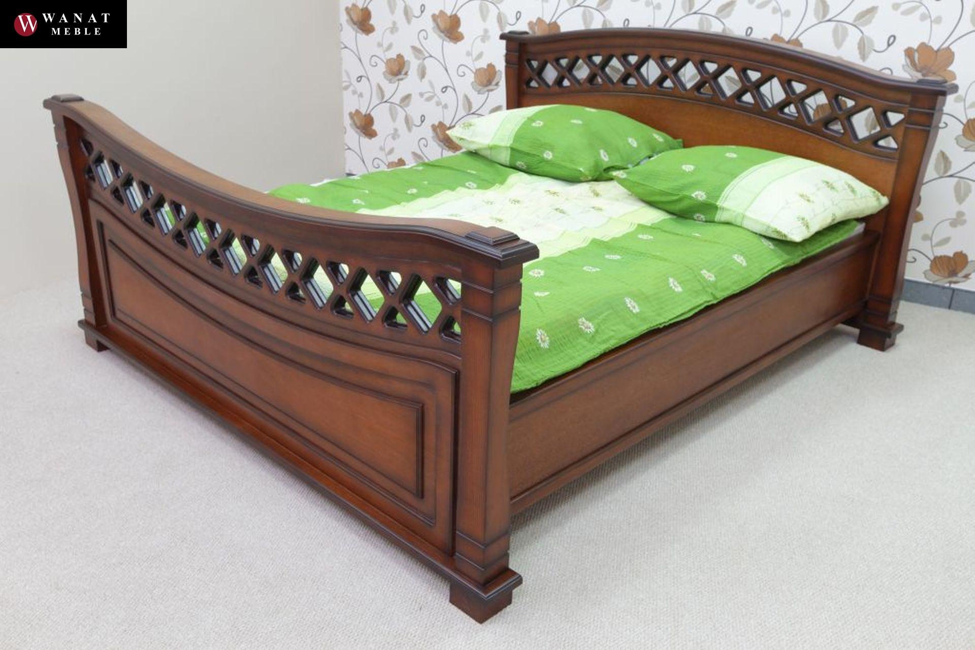 Ekskluzywne łóżko Stylowe Elementy Litego Drewna