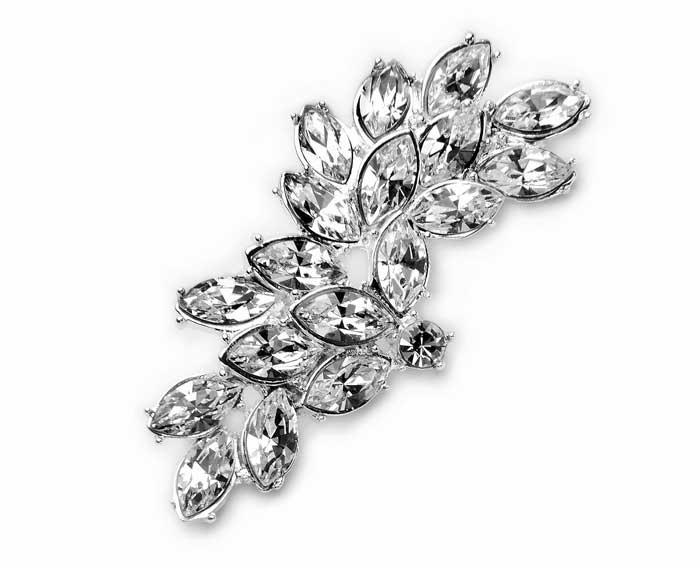 Brošňa Biela Strieborná Swarovski Crystal Manufact