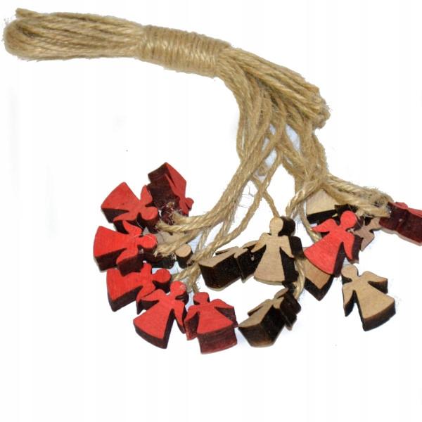 Zawieszki mini aniołki 16szt jutowy sznurek drewno
