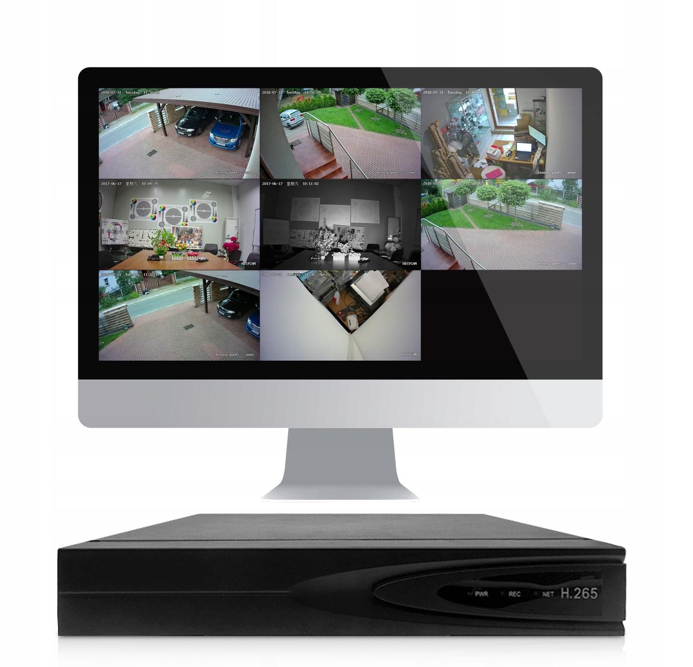 2x FULL HD SONY MONITORING H265+ NVR POE WDR IR Obiektyw stałoogniskowy