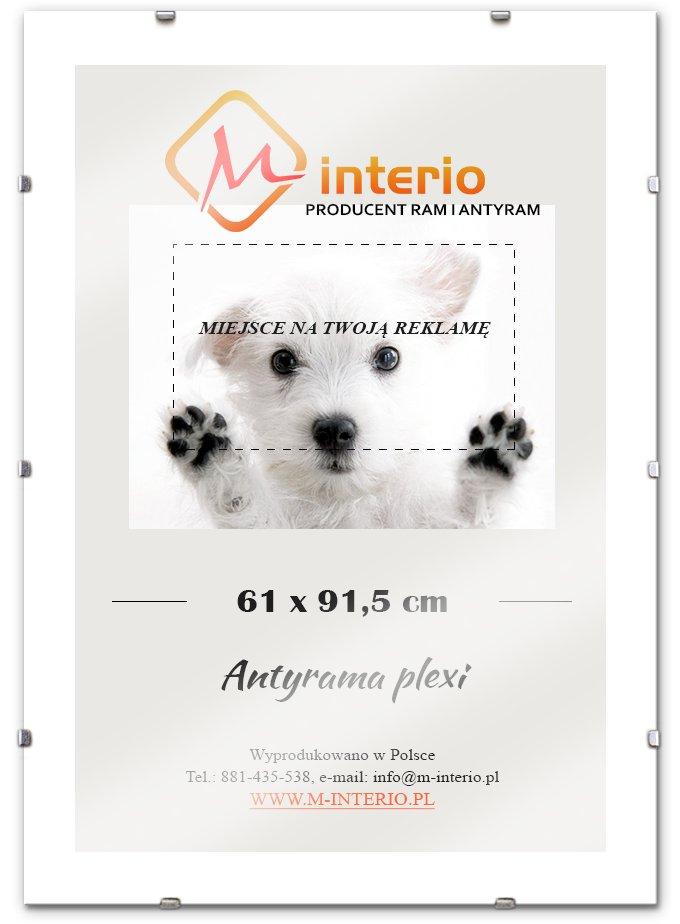 Antirama Plexi 61x91,5 91,5x61 cm Biele hrany! Fv