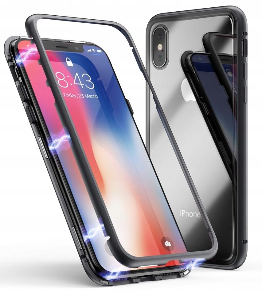 Magnetyczne Etui Slim do iPhone X Aluminium+szkło