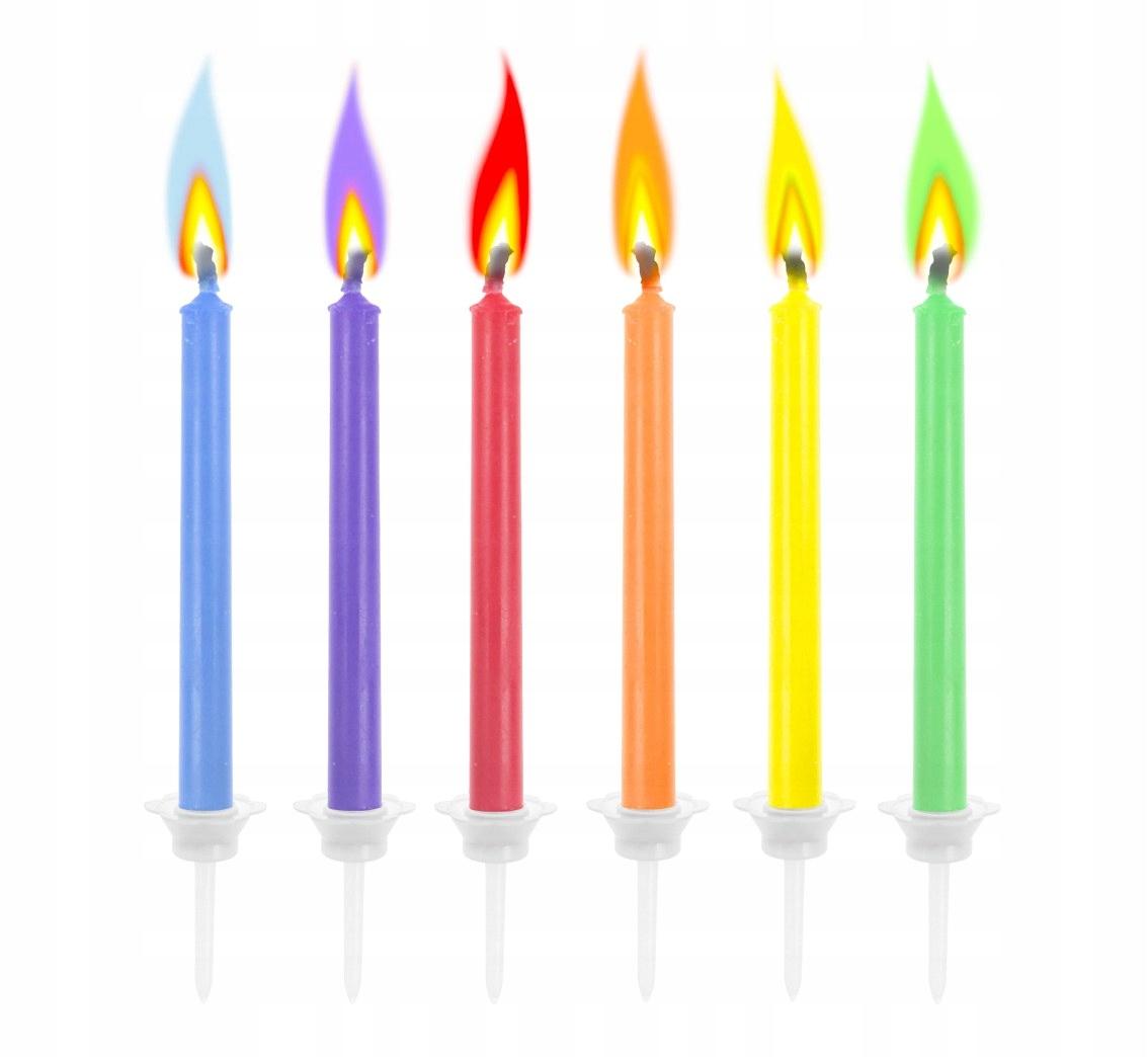 Волшебные свечи на день рождения Colorful Flame 6 шт.