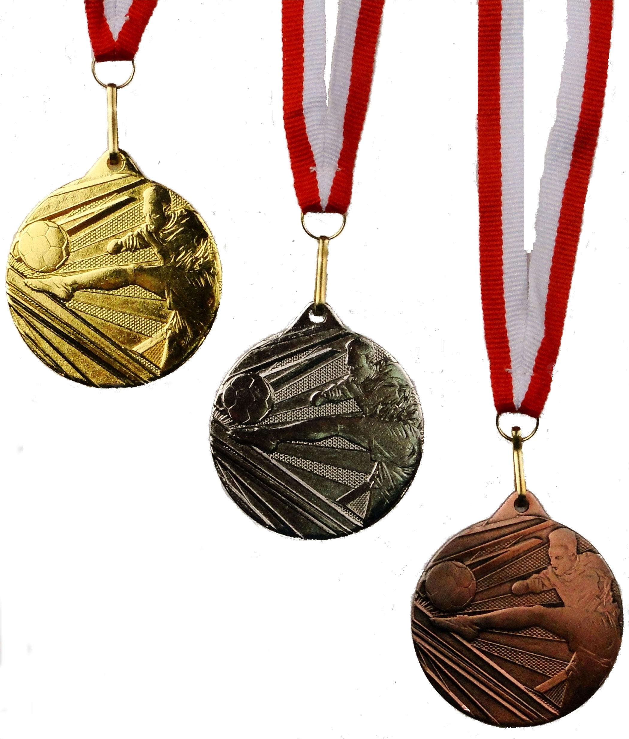 Medaily Šport Futbal Set Gold Silver Bronze