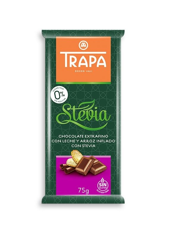 Item MILK CHOCOLATE CRUNCHY SUGAR-FREE STEVIA TRAPA