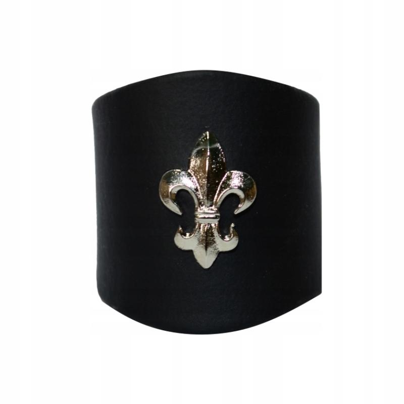 Кольцо кожаный черный с серебряной lilijką доставка товаров из Польши и Allegro на русском