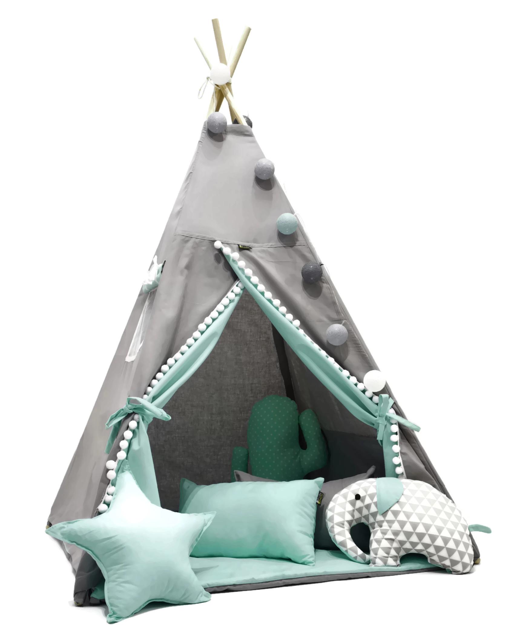 Палатка ЮРТА-вигвам для детей +коврик +подушки разные