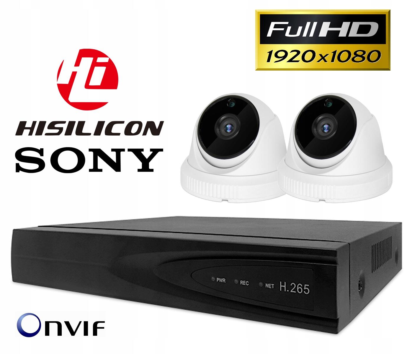 2x FULL HD SONY MONITORING H265+ NVR POE WDR IR Kod producenta TS08 + 2x wew. CP200