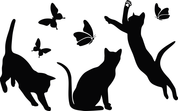 Naklejka na ścianę KOTY i motyle kotki 31 x 50 cm