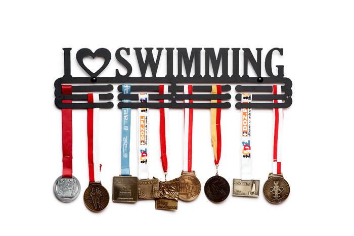 I LOVE SWIMMING | ПЛАВАНИЕ | Вешалка на медали 90