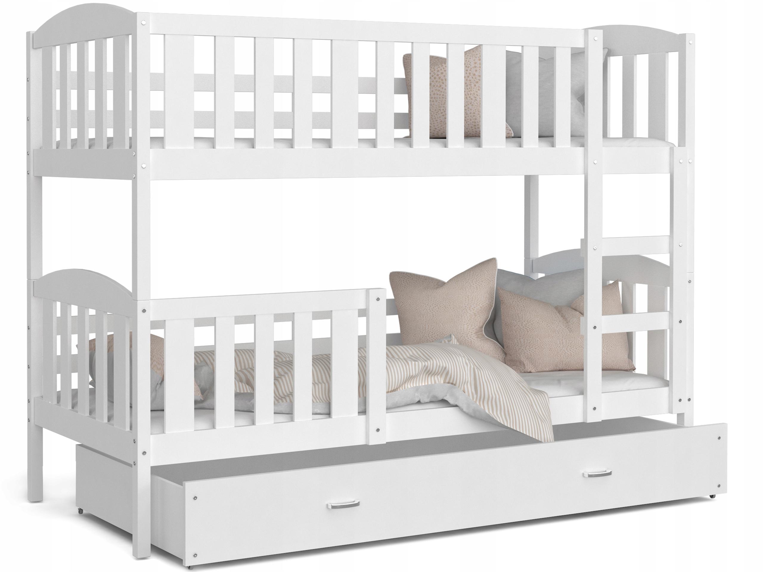 Łóżko piętrowe KUBUŚ biały i materace i szuflada