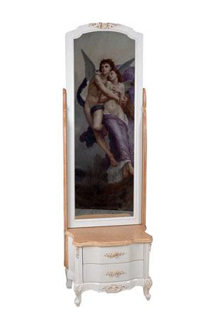 STOJÍ OTOČNÉ ZRKADLO, toaletný stolík, VINTAGE ŠTÝL 174 cm