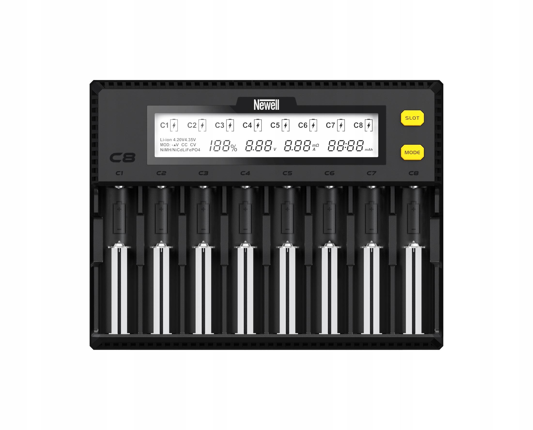 Nabíjačka Newell C8 nabíjateľné batérie NiMH/Li-Ion batérie typu AA