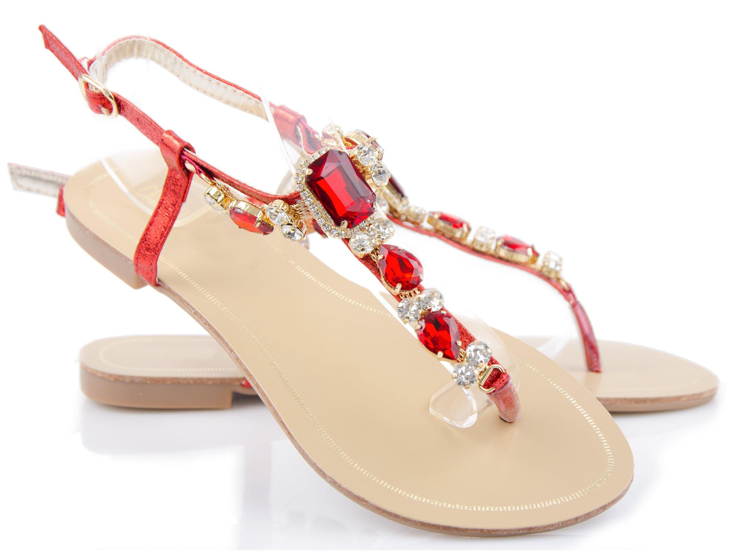 c0b2b4579818c Czerwone Sandały Glamour Biżuteryjne Zdobienia 39 7236091215 - Allegro.pl - Więcej  niż aukcje.