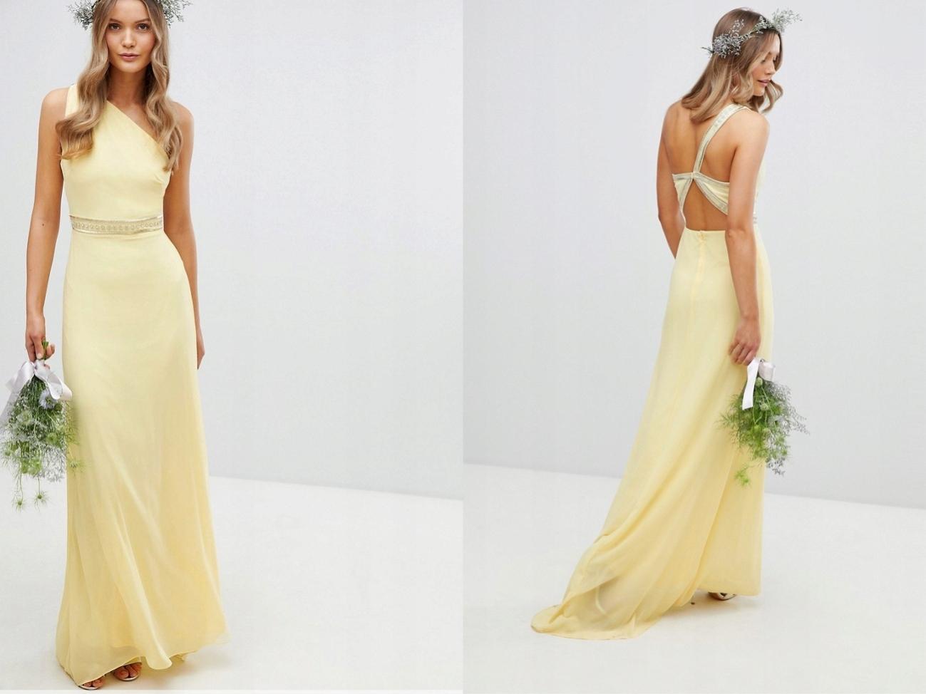 afca1747d0c6c7 TFNC Żółta Sukienka Maxi na jedno ramię S/36 - 7701223825 ...
