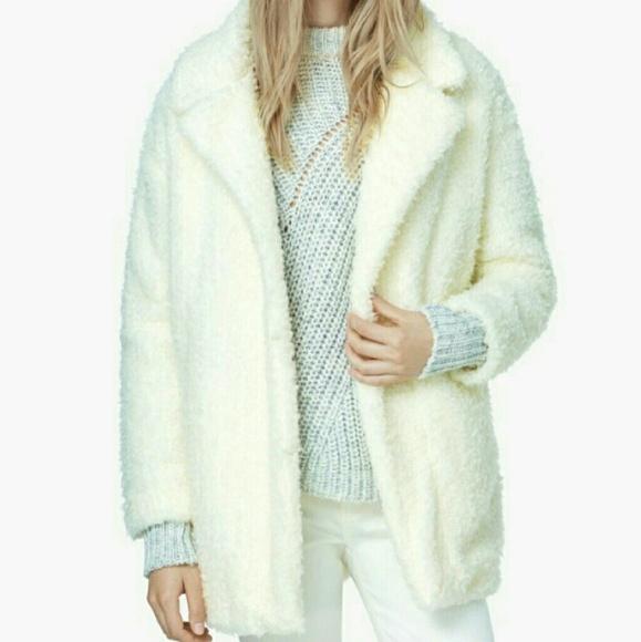 Mango włochaty płaszczyk kurtka z baranka ecru S/M