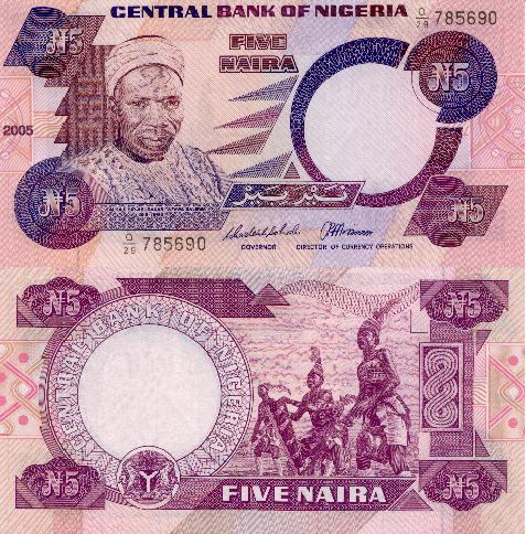Nigeria 5 Naira P 24k 2005 Stan I Unc