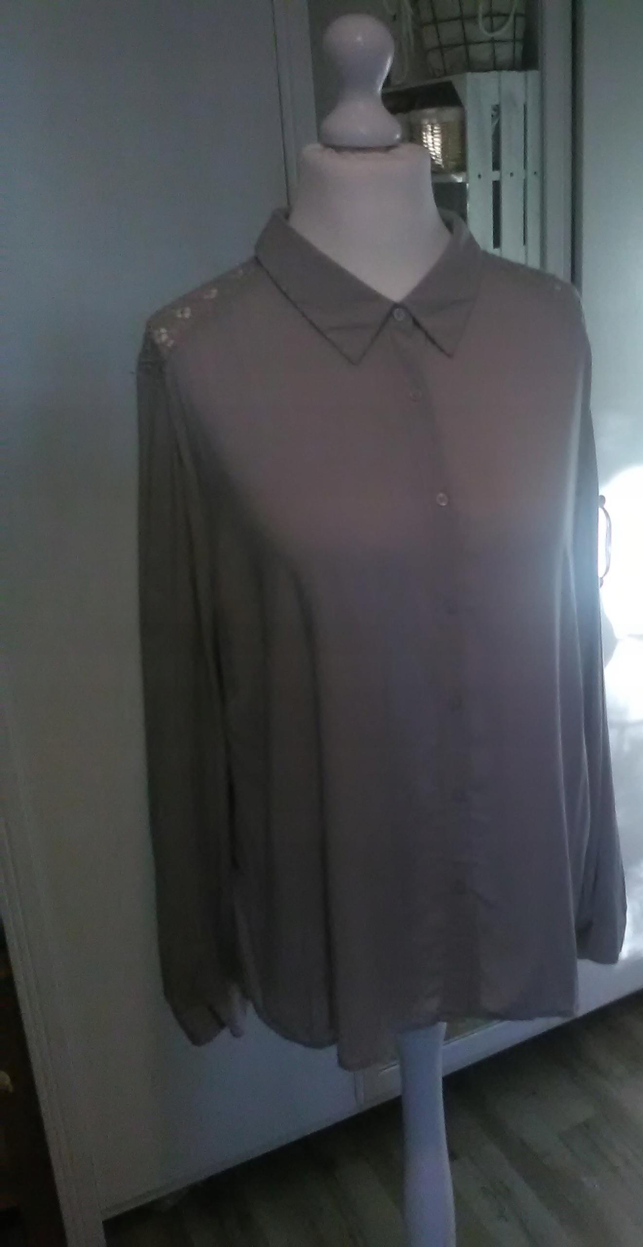 elegancka koszula popiel koronka C&A 46 48 50 7621690182