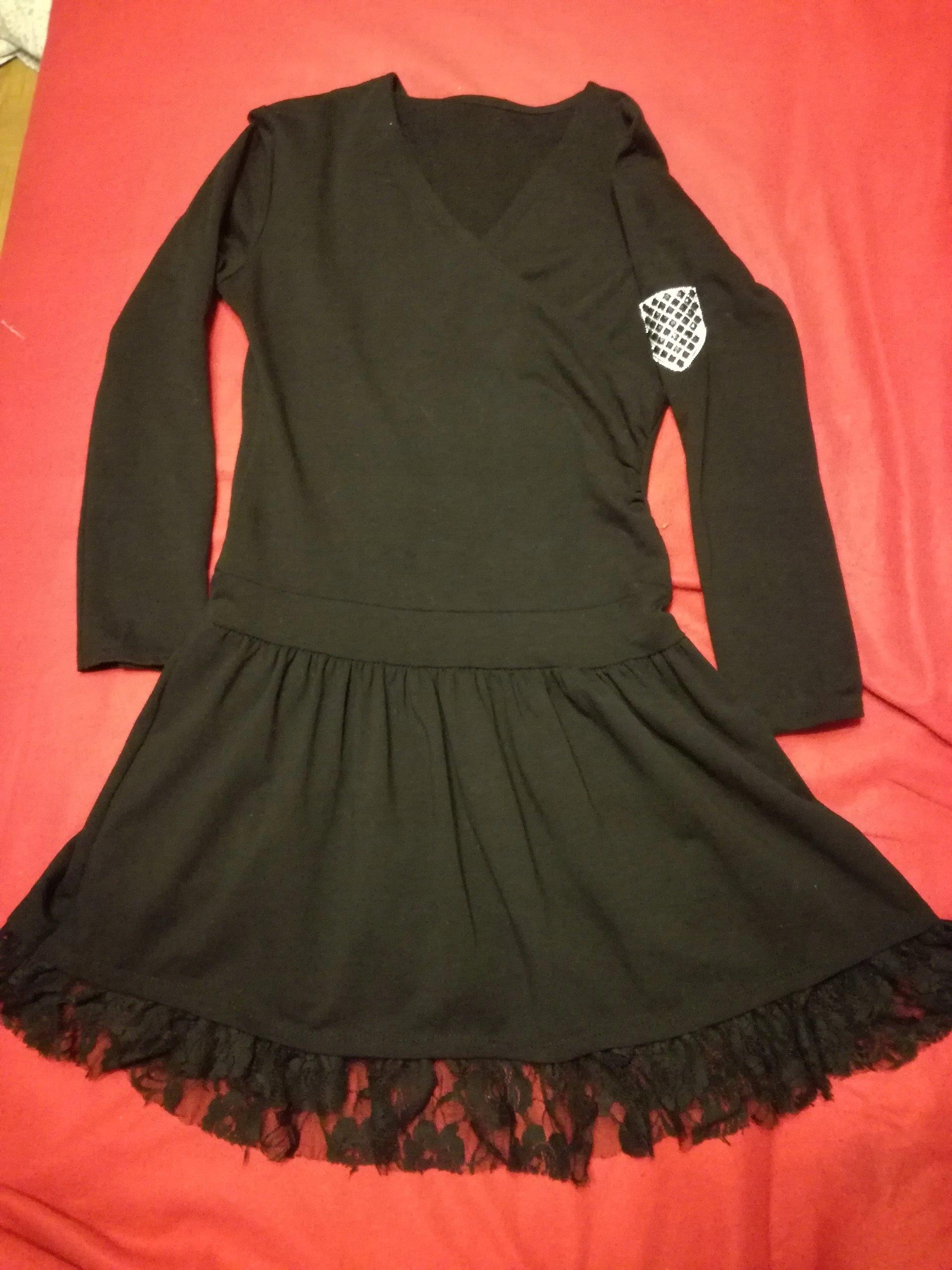 c7b43d2c58 Wloska sukienka jesienna ciepla czarna z koronka - 7595547752 ...