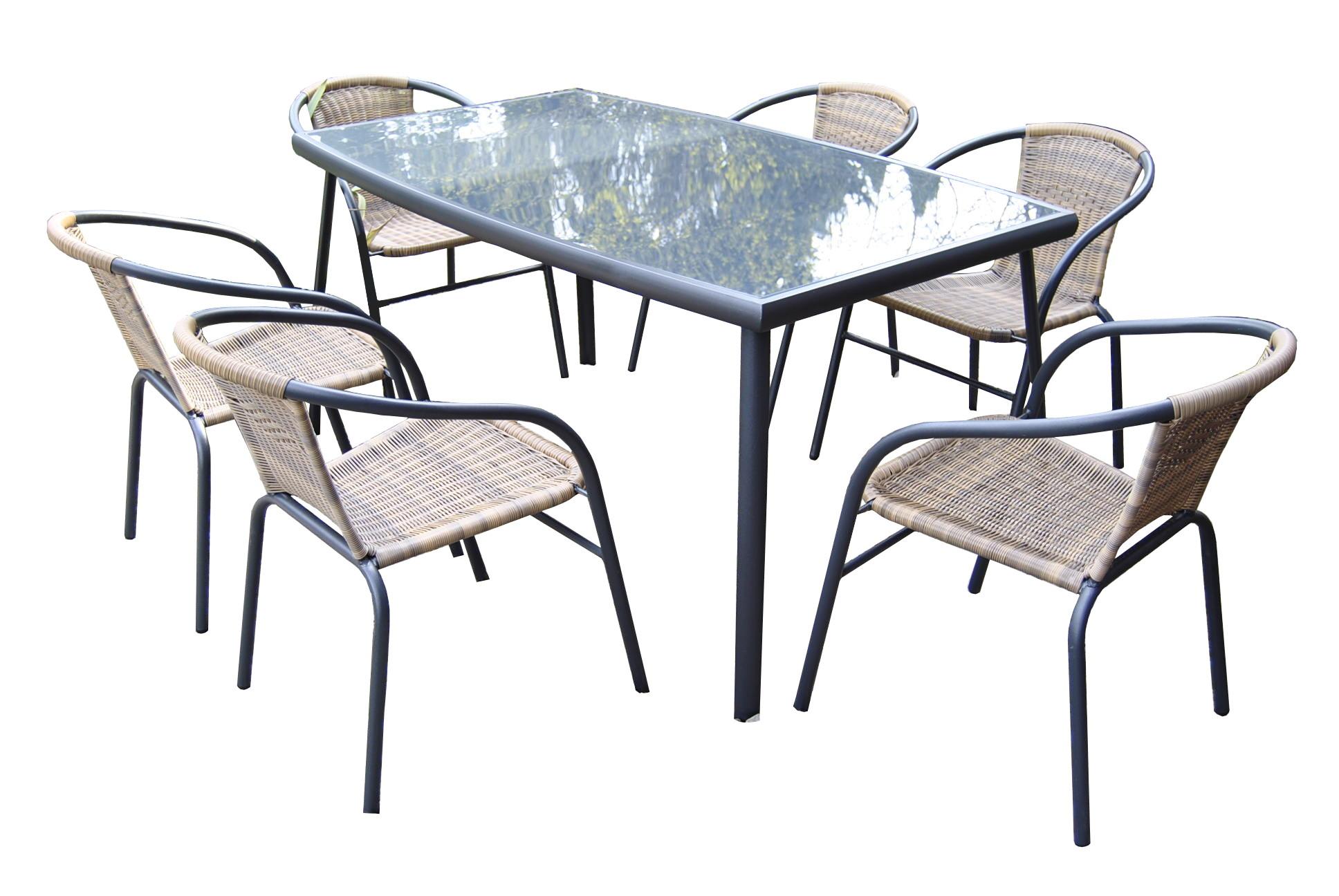 Zestaw Mebli Ogrodowych Duzy Stol 6 Krzesel Ratan 7218613001