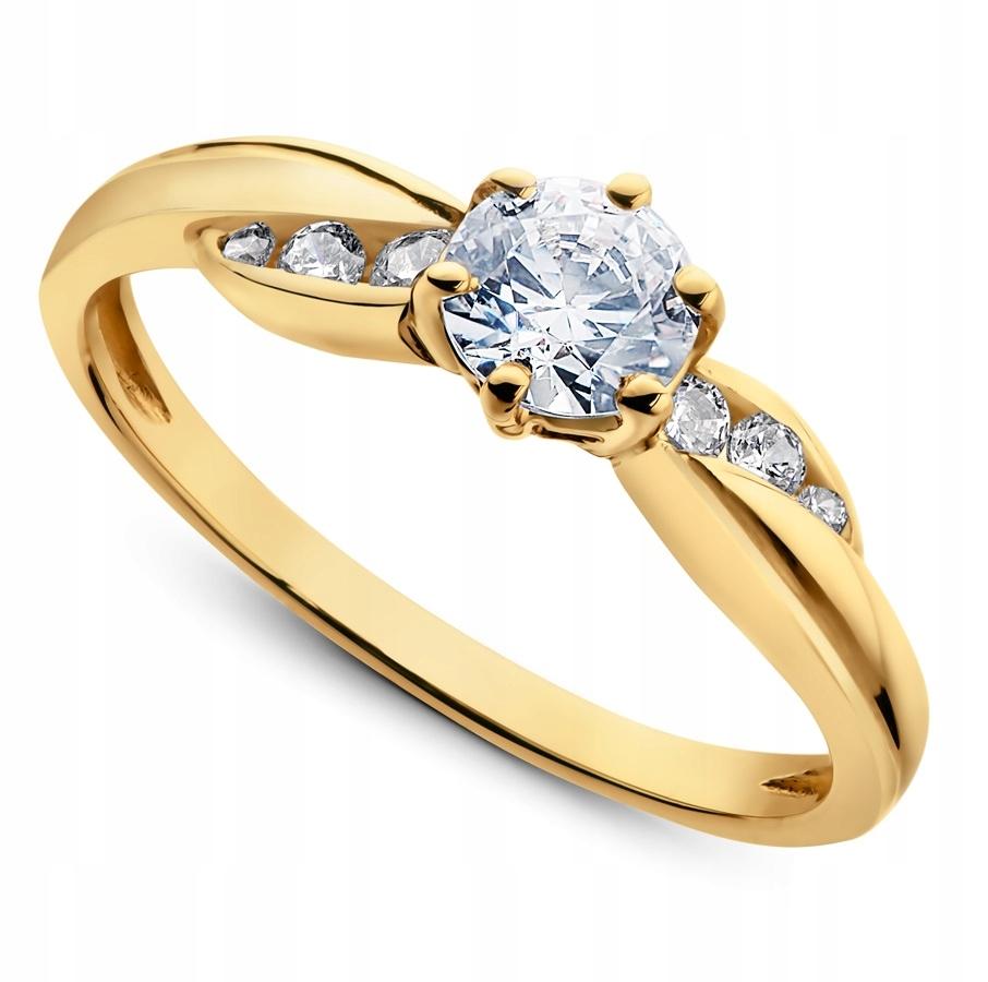 060e5b1fa9d2c3 Nietuzinkowy pierścionek zaręczynowy ze złota 585 - 7687549676 ...