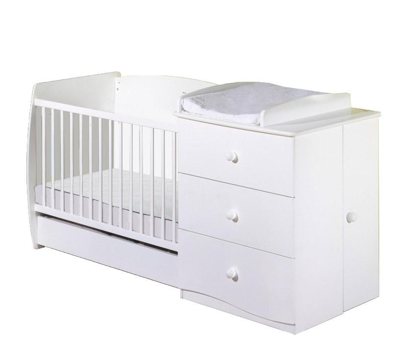 Nowość łóżeczko Dziecięce Z Komodą 120x60 Białe