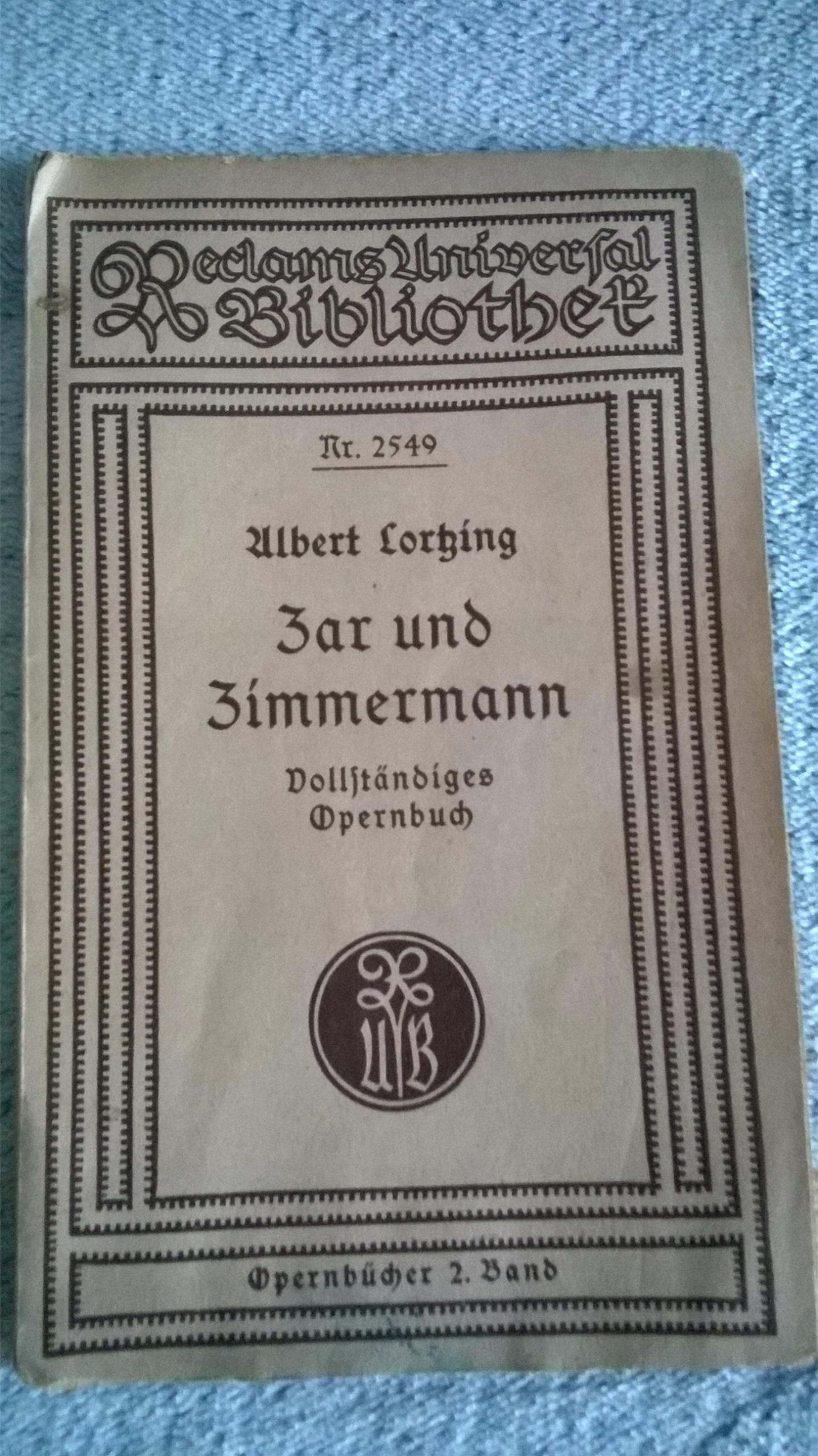 Zar und Zimmermann Opernbucher Wagner