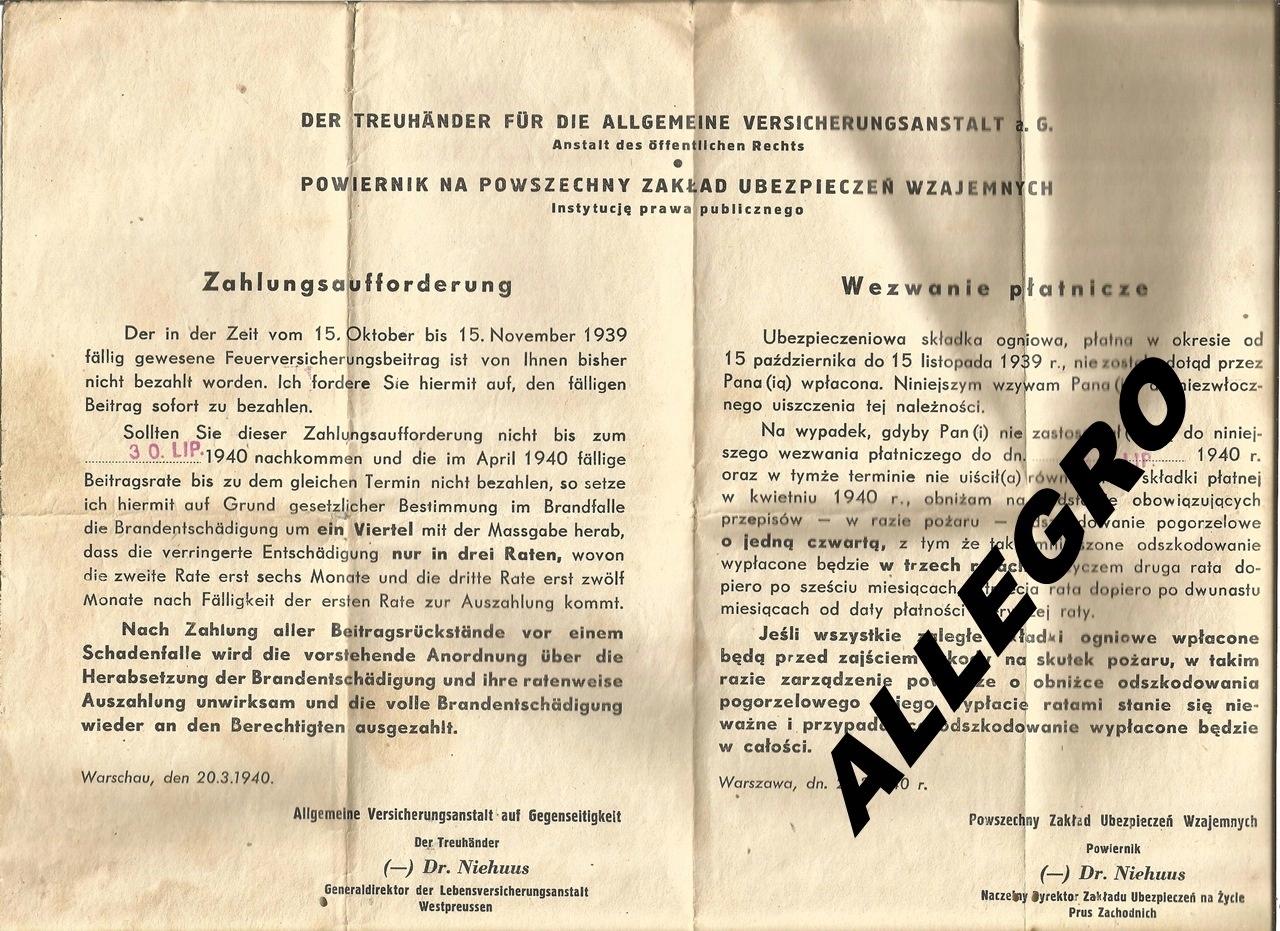 Wezwanie platnicze PZU - Generalna Gubernia 1940